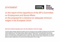 CCC statement on the report of the rapporteurs of the EP's Committee on Employment and Social Affairs on the proposal for a directive on adequate minimum wages in the European Union