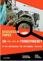 Discussion paper on (the lack of) transparency in the Partnership for Sustainable Textiles