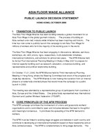 Asia Floor Wage Alliance - Public Launch Decision Statement 2008