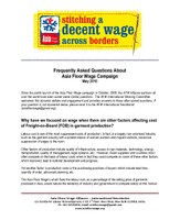 Frequently Asked Questions About Asia Floor Wage Campaign 2010