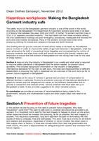 Hazardous workplaces: Making the Bangladesh Garment industry safe