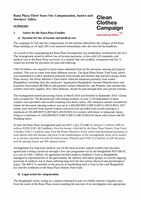 Rana Plaza Three Years On: Compensation, Justice and Workers' Safety - Summary
