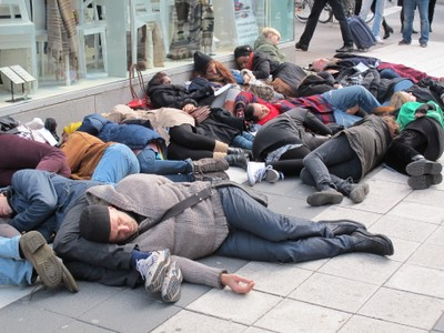 In October 2012 activists in Sweden staged a mass fainting in protest at the poverty wages being paid to workers in Cambodia