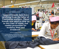Brands must urgently take steps to minimise impact of the coronavirus on garment workersa health and livelihoods
