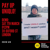 Campaigners call on Uniqlo to resolve wage theft case for International Womenas Day